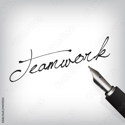 Teamwork Handschrift mit Füller