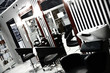Interior of luxury modern hairdressing salon in pin-up style