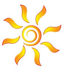 Sun with swirly rays logo vector