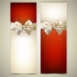 Elegant greeting cards with white bows and copy space. Vector il