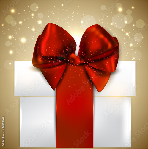 Elegant Christmas gift with red bow and space for text. Vector b