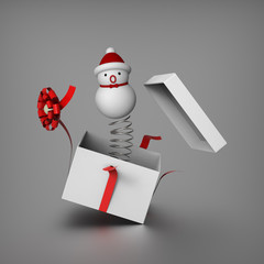 Snowman springs out from the gift box to surprises everybody