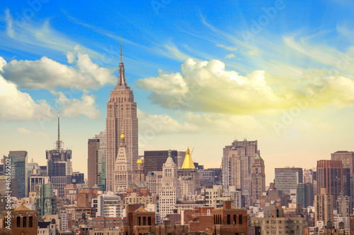 Manhattan Skyscrapers with Cloudy Sky, New York City