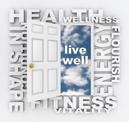 Health Words Door Fitness Wellness Shape Living Healthy