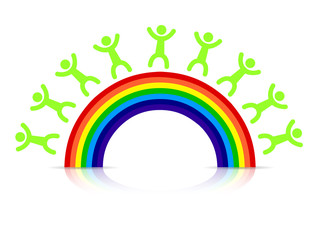 people around a rainbow illustration design