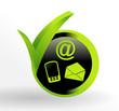 icône contactez nous sur bouton vert et noir
