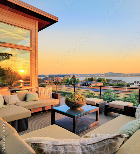 Beautiful Patio with View during Sunset