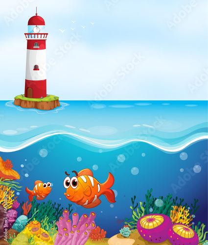 In de dag Onderzeeer a light house, fishes and coral in sea