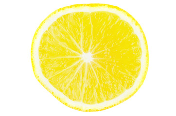 slice of lemon isolated on white background, close-up