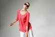 fashion or casual woman portrait wearing sunglasses posing