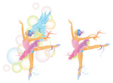 Ballet dancer with colorful body mix with abstract concept