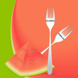 Watermelon with Forks Spoons Vector