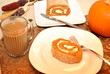 Serving of Pumpkin Roll Cake