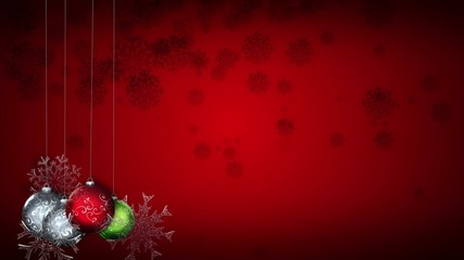 A mixture of Christmas elements against a red snowy background