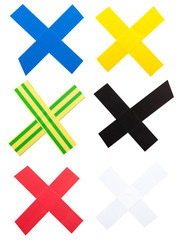 X Mark of color tape
