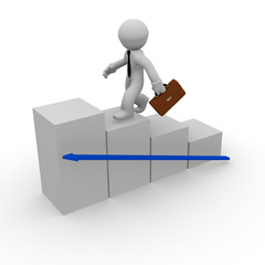 3d man on white stairs with an upswing arrow
