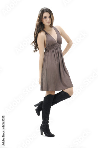 Pretty young girl with long hair over white background