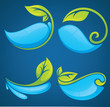 water and leaves stickers and symbols on blue background