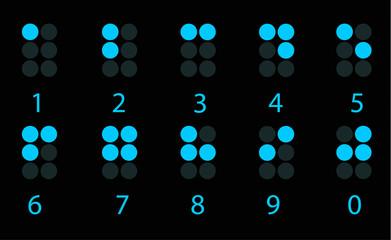 Set of blue digital braille number