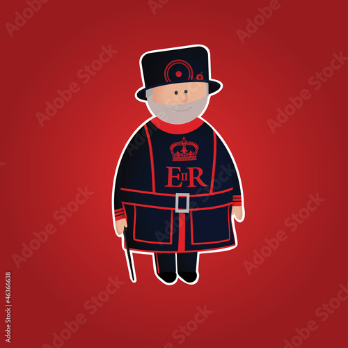 Cute Tower of London beefeater (Yeomen Warder) character