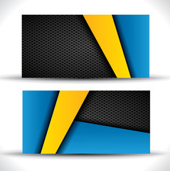 Modern business card - blue and yellow colors