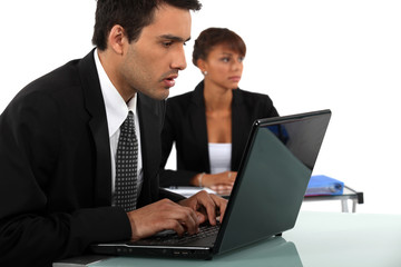 Business couple in meeting