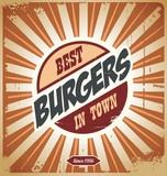 Retro burger sign, vintage poster template
