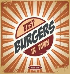 Retro burger sign, vintage poster template