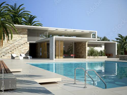 canvas print picture Villa mit Pool