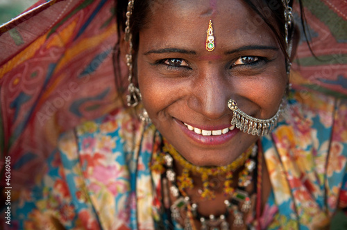 Leinwanddruck Bild Portrait of a India Rajasthani woman