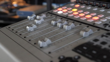 Audio mixer mixing board fader and knobs