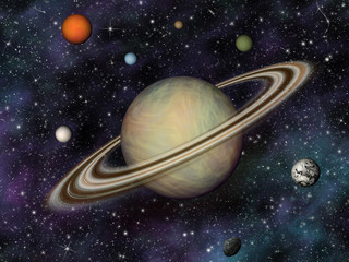 3D Solar System. Saturn and its 7 largest moons.