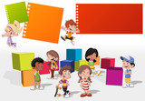 Fototapety group of cute happy cartoon kids playing