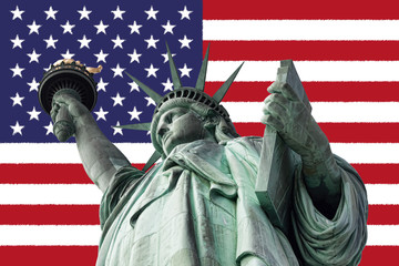 statue of liberty USA flag