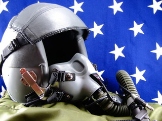 Military fighter pilot helmet and vintage cloth American flag