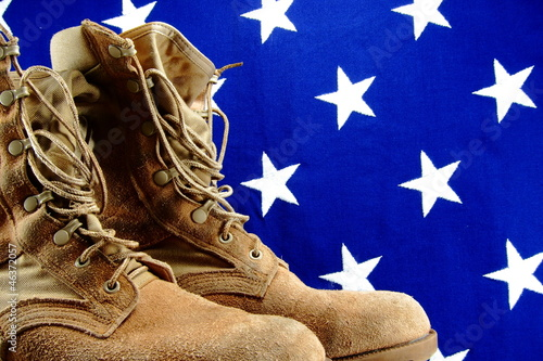 Desert military boots and vintage cloth American flag