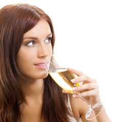 Beautiful woman with champagne, over white