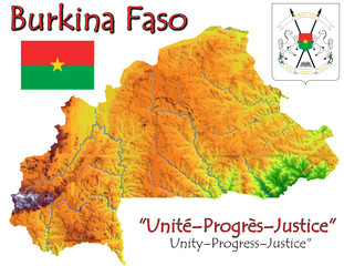Burkina Faso Africa national emblem map symbol motto