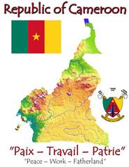 Cameroon Africa national emblem map symbol motto