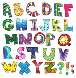 ABC. Kids funny alphabet, vector
