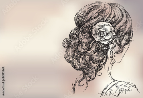 Vector drawing of a beautiful girl, bridal hairstyle