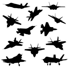 Fighter aircraft silhouettes