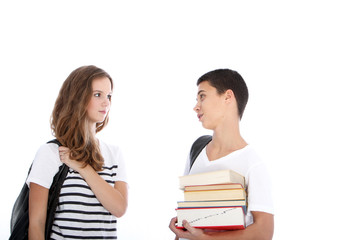 Teenage students looking one to each other