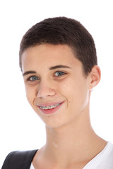Smiling teenage boy with orthodontic braces