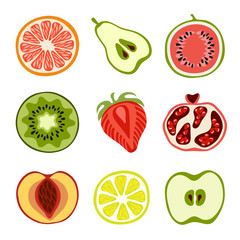 Isolated hand-drawn cut fruits
