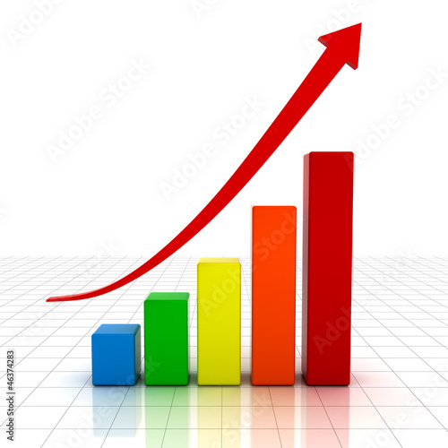 Business graph with red rising arrow over white background