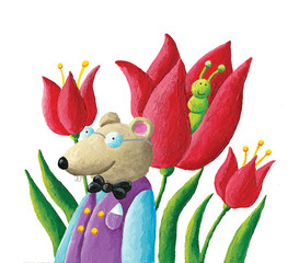 Mouse, caterpillar and tulips