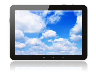Tablet pc with blue sky on white background