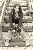 young girl on railway