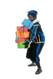 Dutch black pete carrying many presents